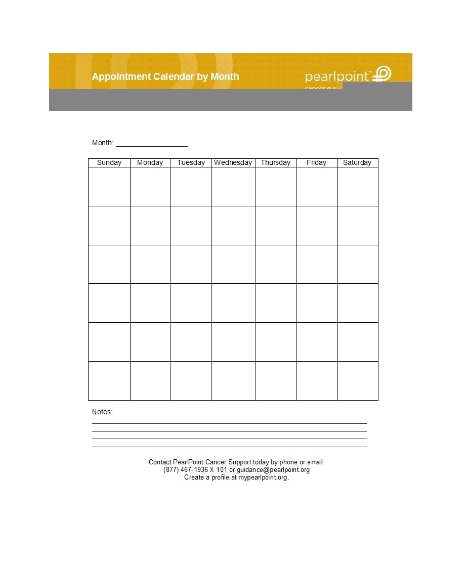 Appointment Schedule Template Sunday To Saturday