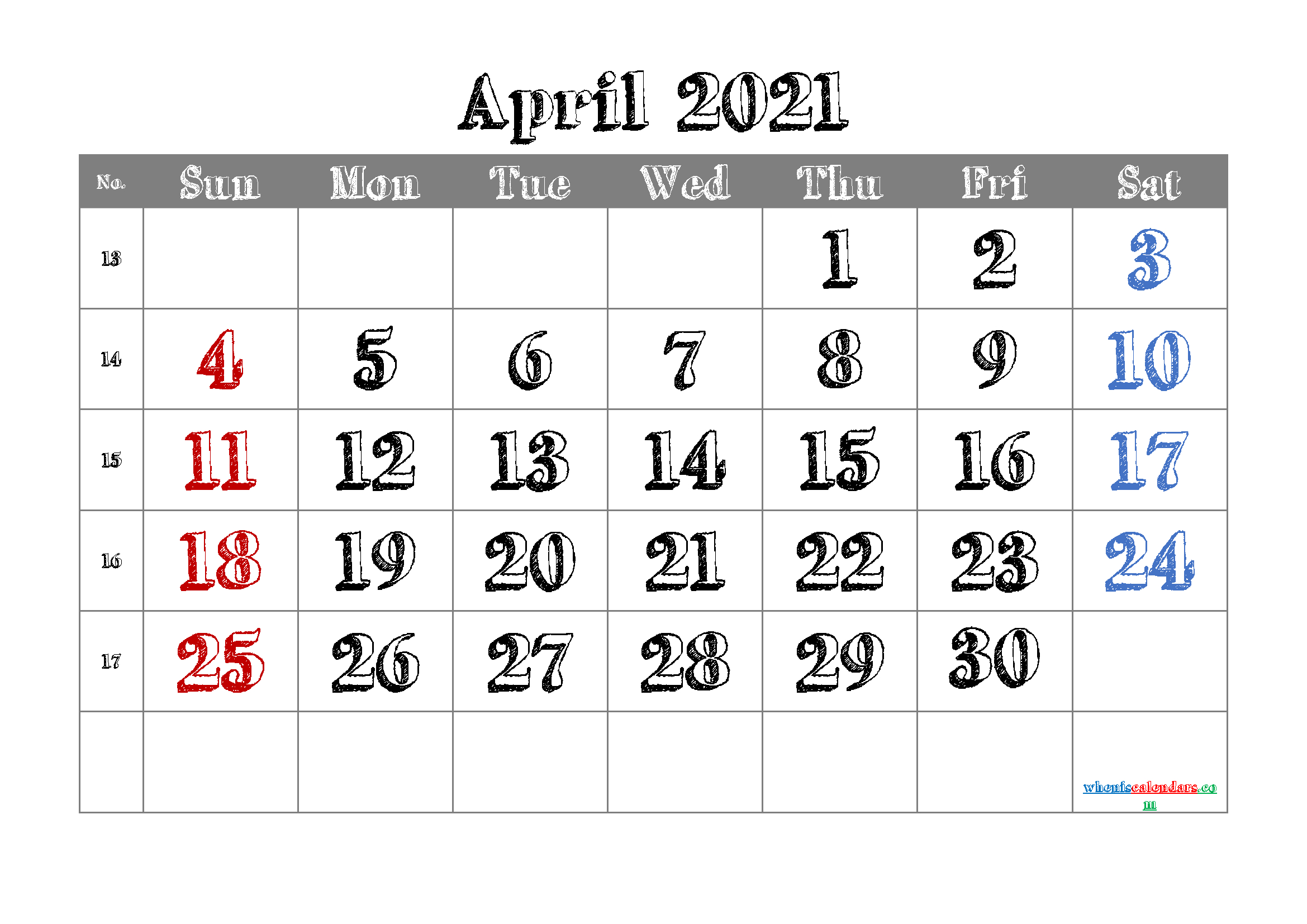 April 2021 Calendar Printable Free | Template