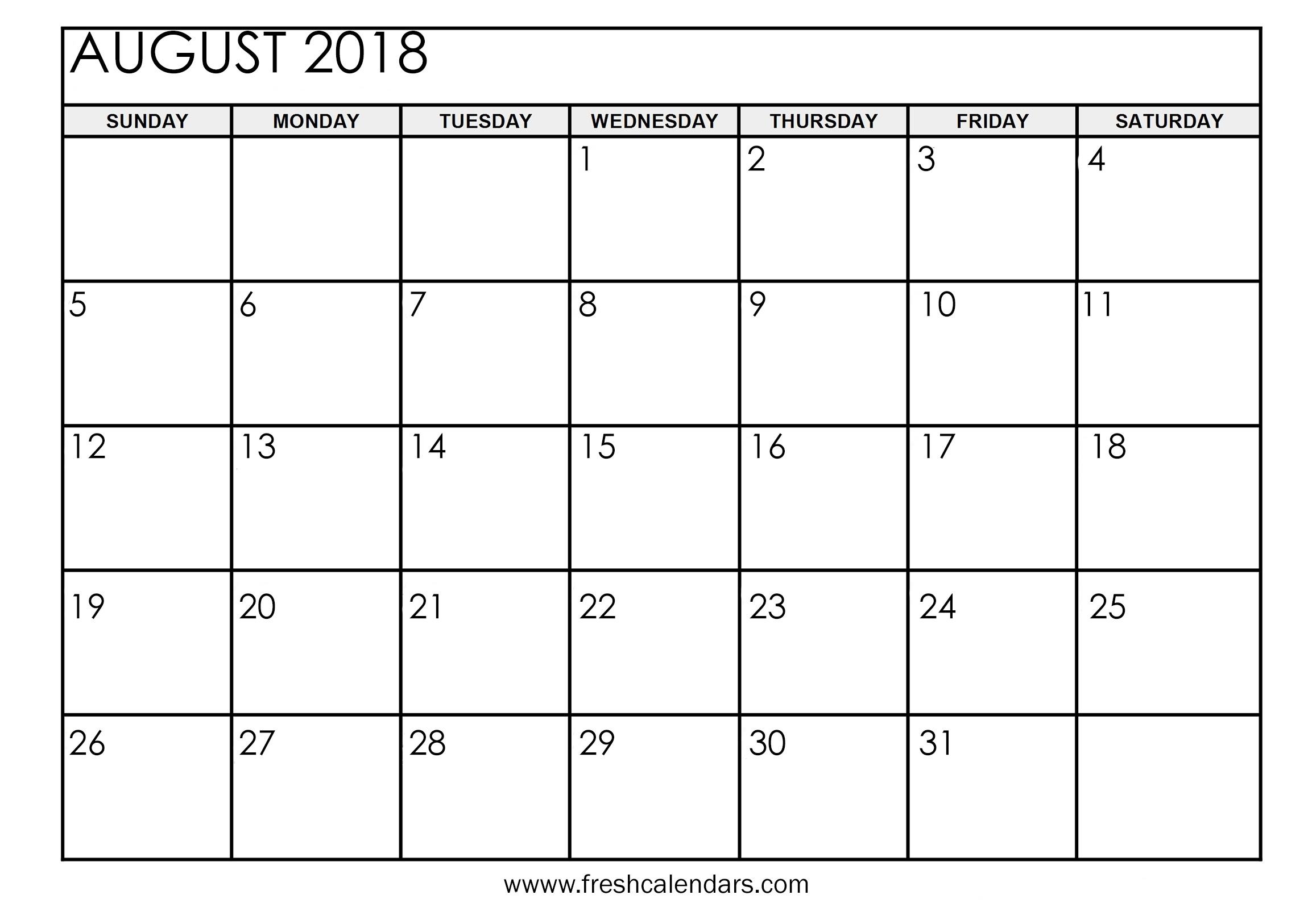 Aug 2018 Calendar Printable – Template Calendar Design