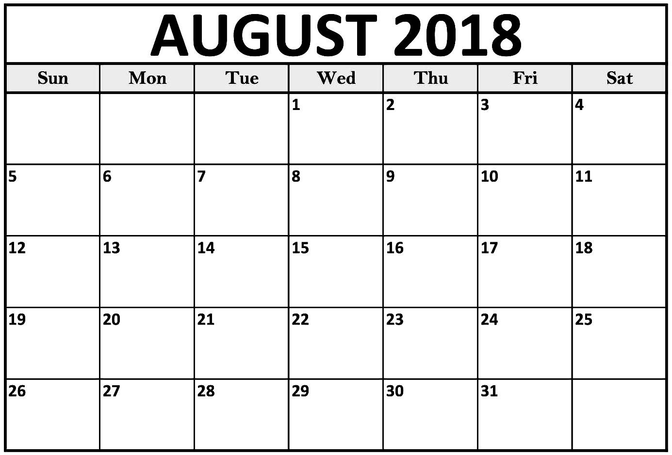 August 2018 Calendar Full Page – Template Calendar Design