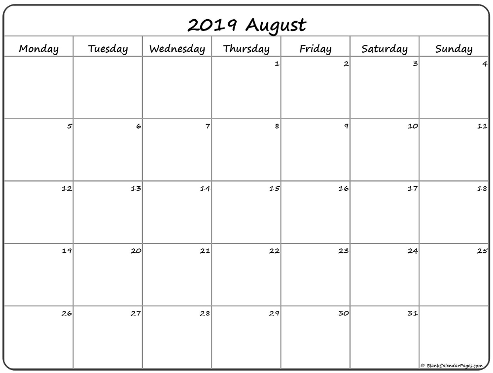 August 2019 Monday Calendar | Monday To Sunday | August