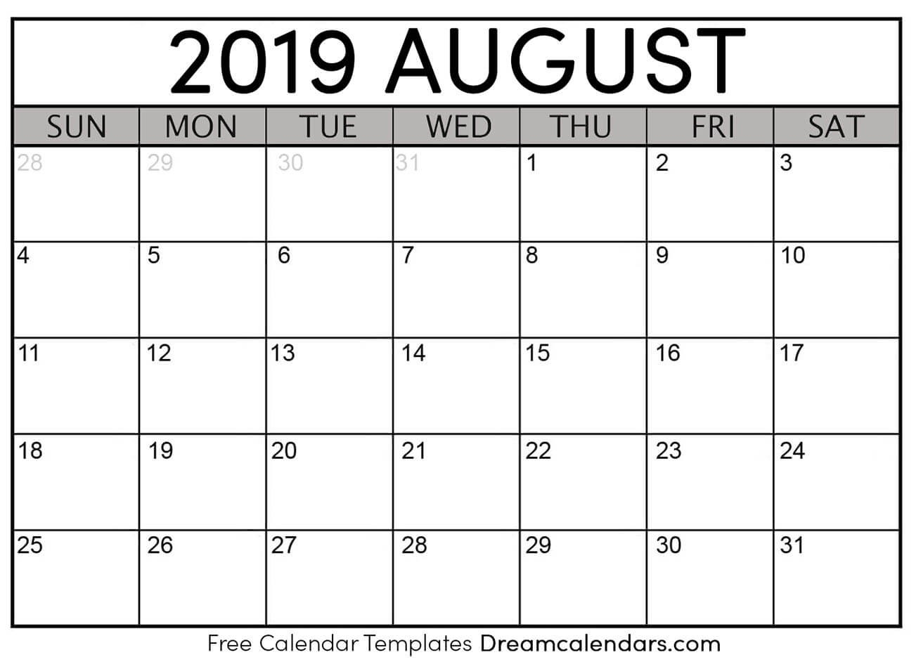 August 2020 Calendar – Template Calendar Design