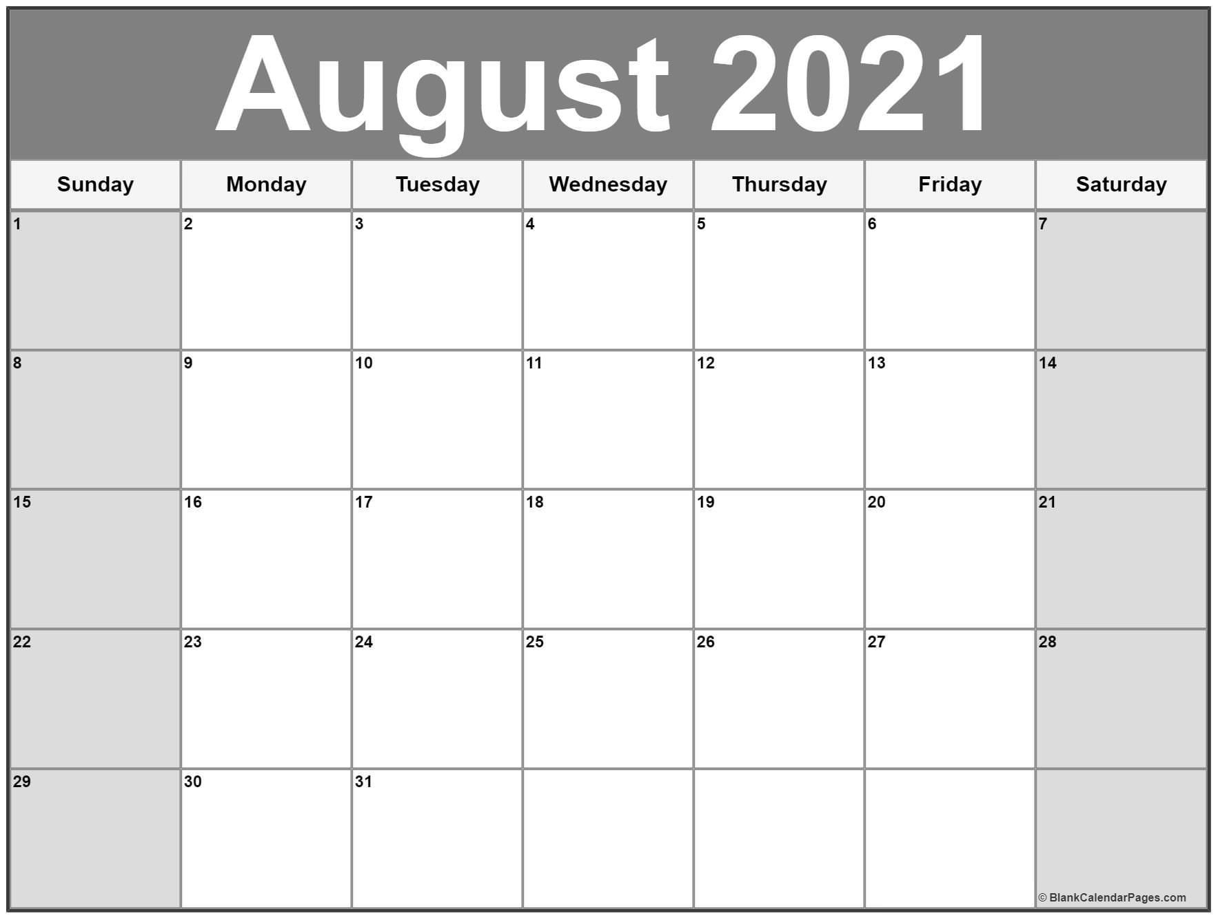 August 2021 Calendar | 56+ Templates Of 2021 Printable