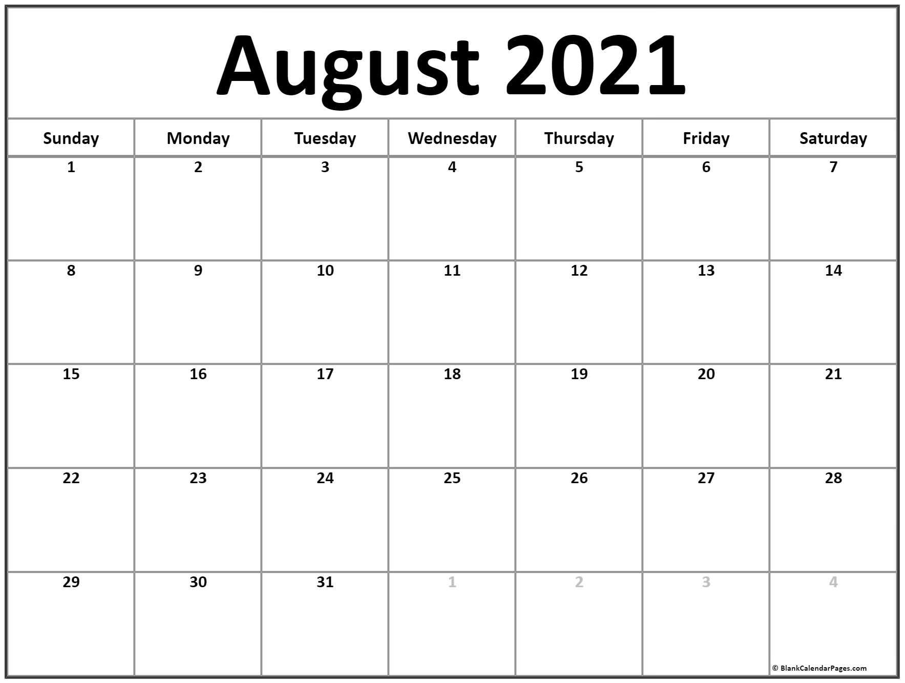 August 2021 Calendar | Free Printable Monthly Calendars