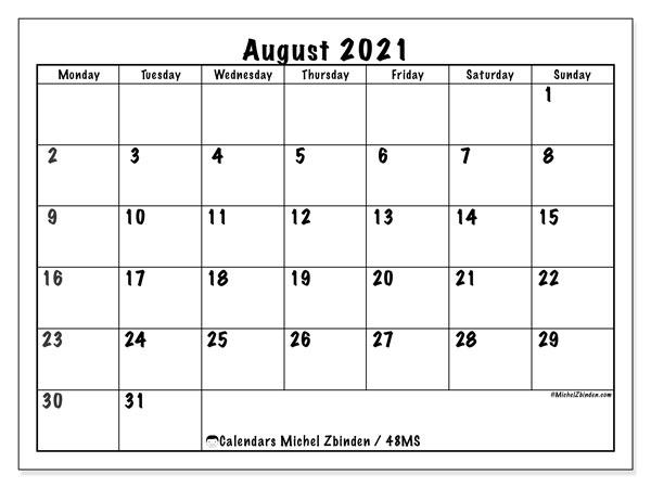 August 2021 Calendars - Ms - Michel Zbinden En