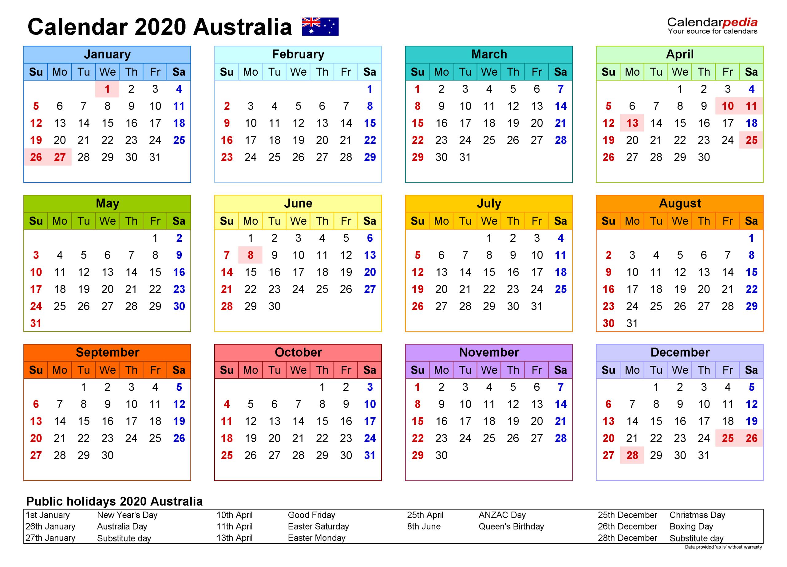 Australia Calendar 2020 - Free Printable Word Templates