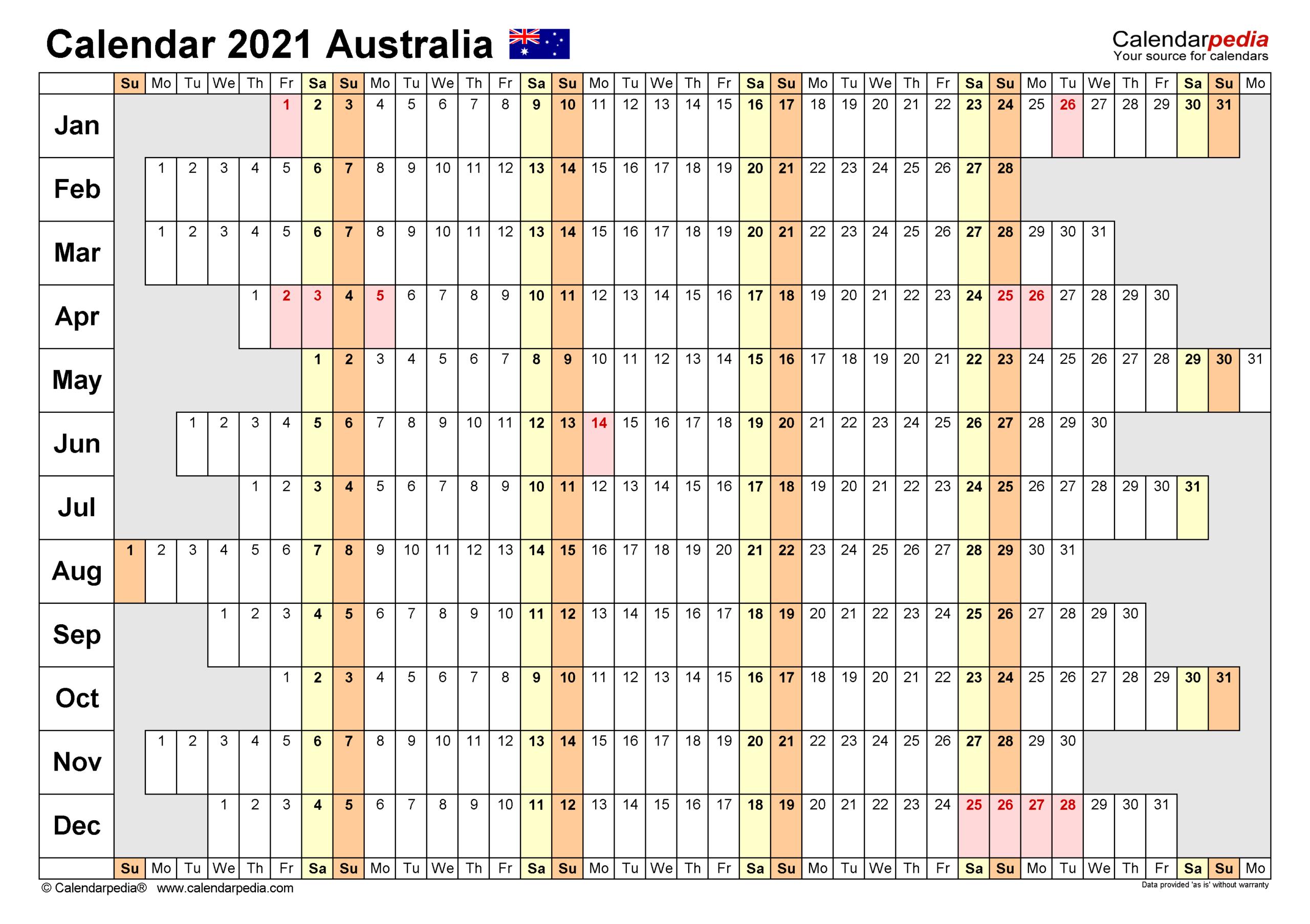 Australia Calendar 2021 - Free Printable Word Templates