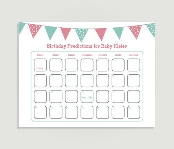 Baby Birthday Prediction Calendar Baby-Q Theme Baby Shower