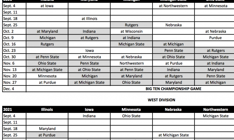 Big Ten Unveils Football Schedules For 2020, 2021 Seasons