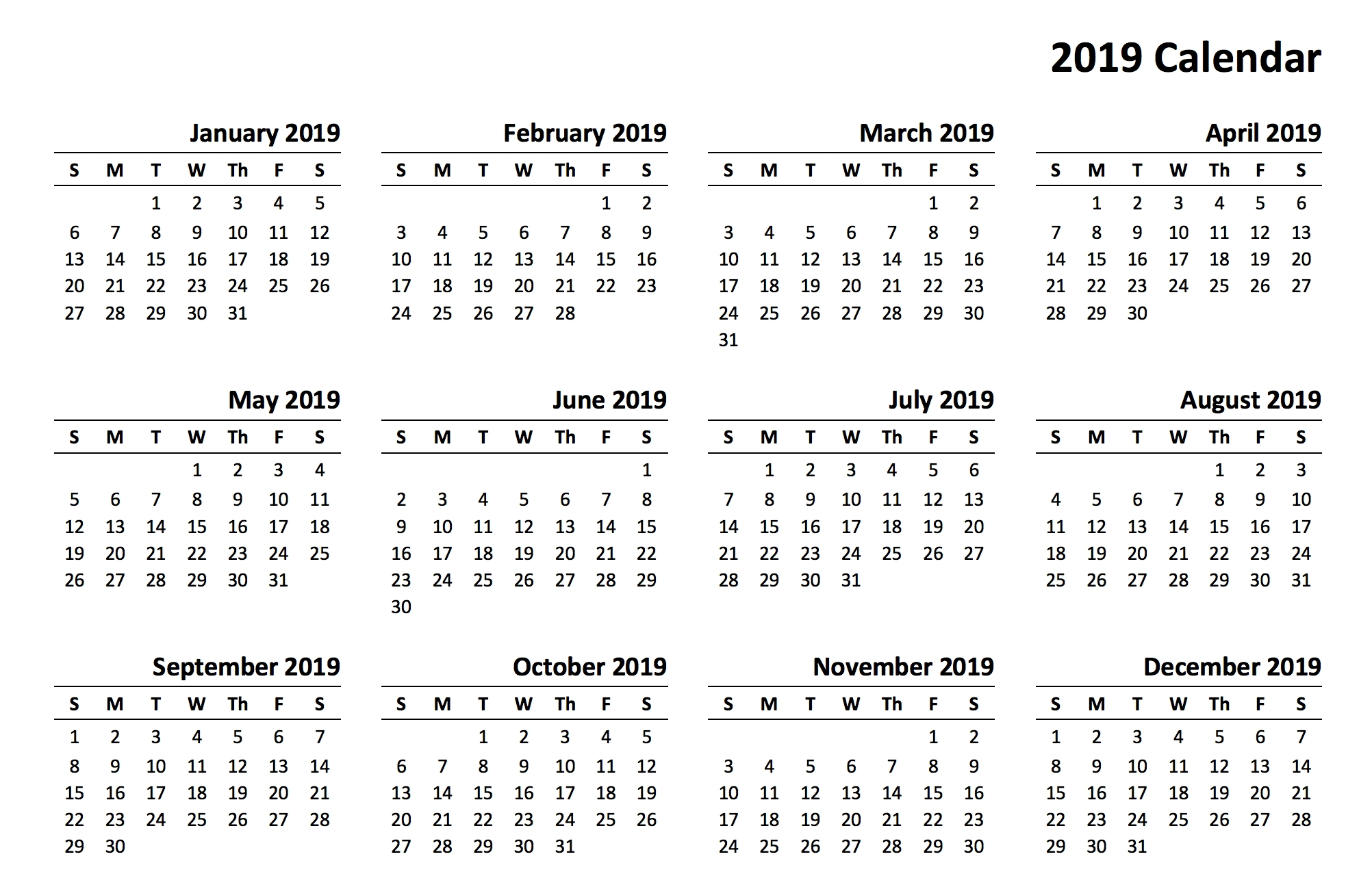 Bill Pay Calendar 2019 Printable – Template Calendar Design