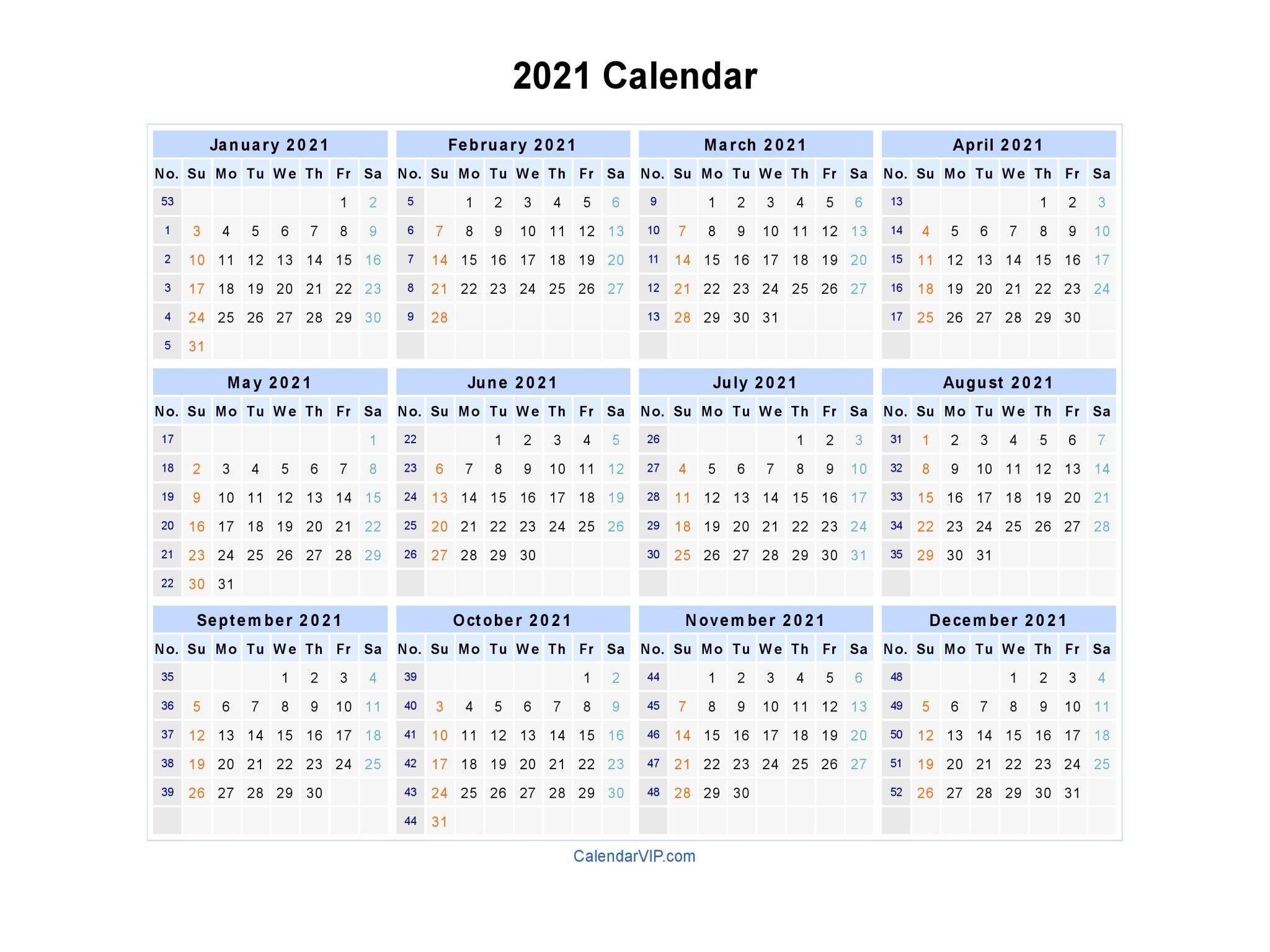 Blank 2021 Calendar Pdf Free Printable In 2020 | Calendar