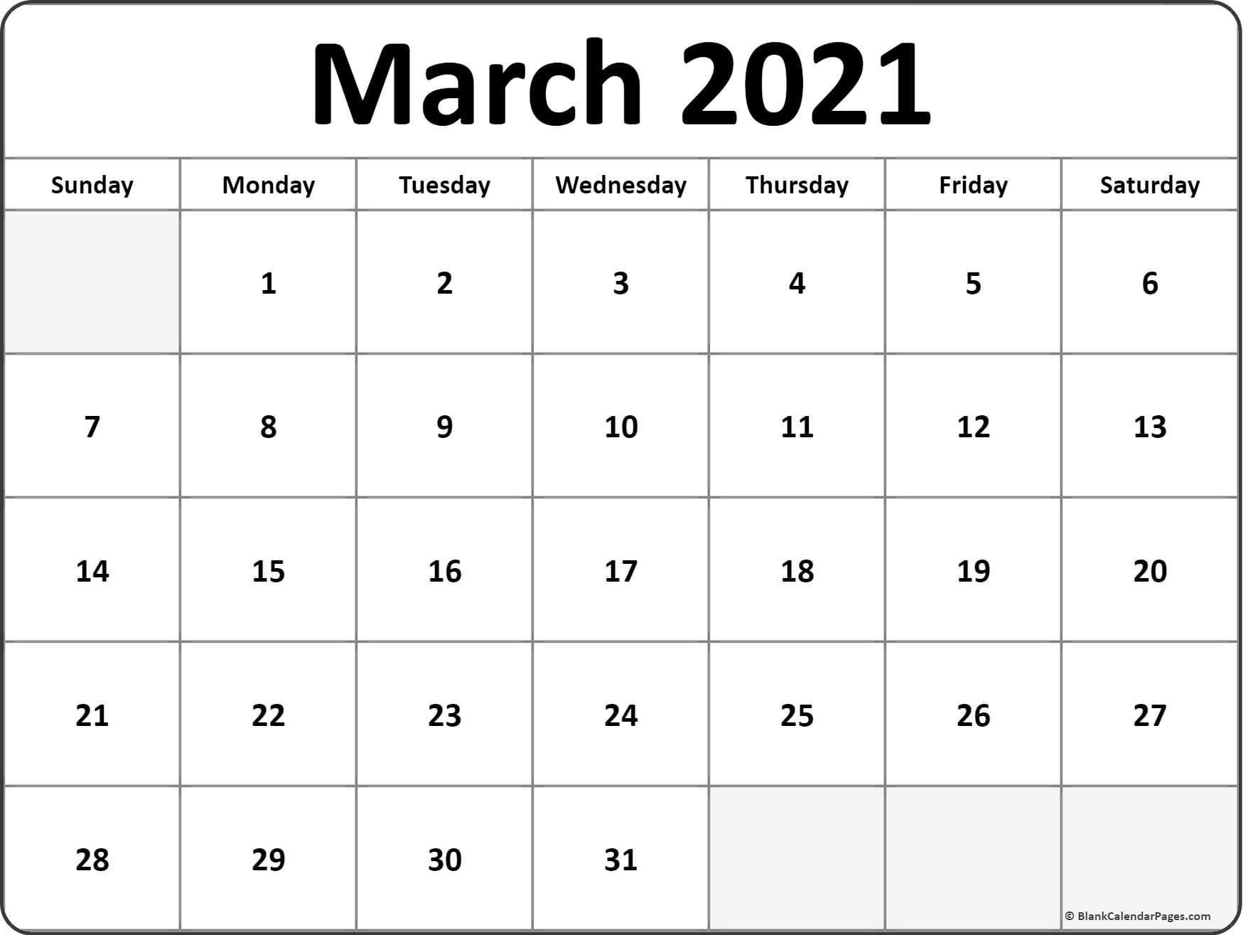 Blank Calendar 2021 March | Free Printable Calendar Monthly