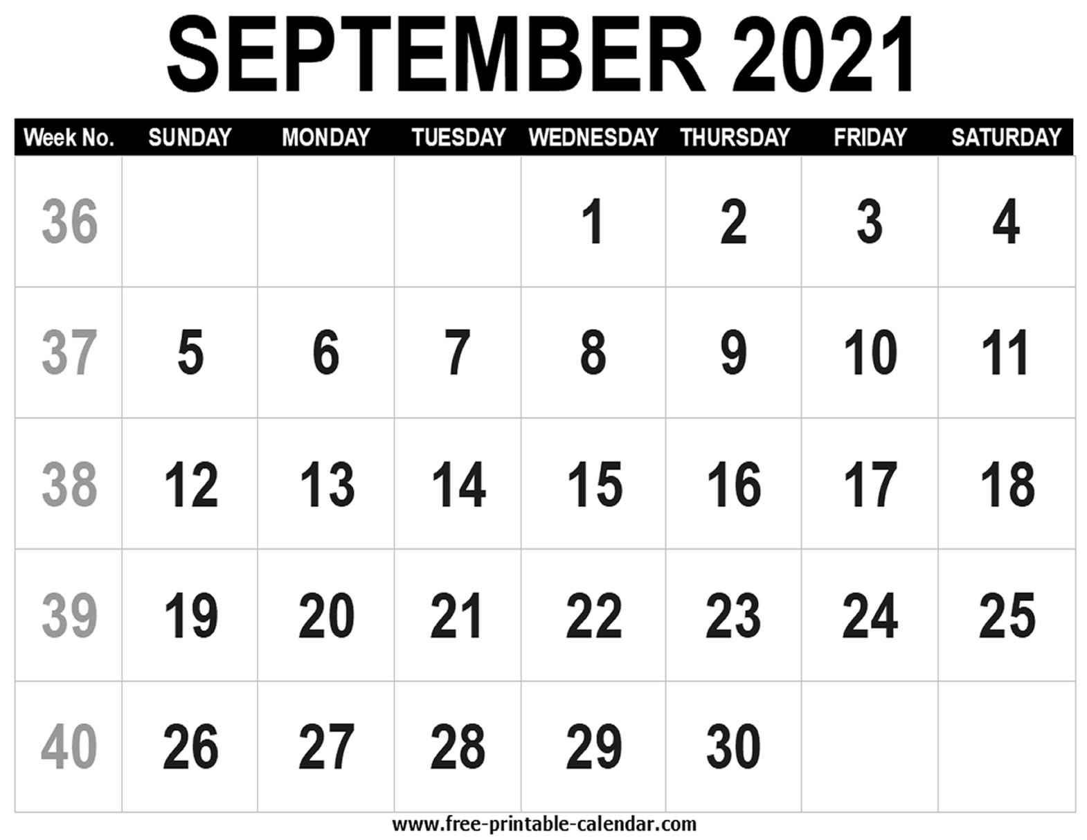 Blank Calendar 2021 September - Free-Printable-Calendar
