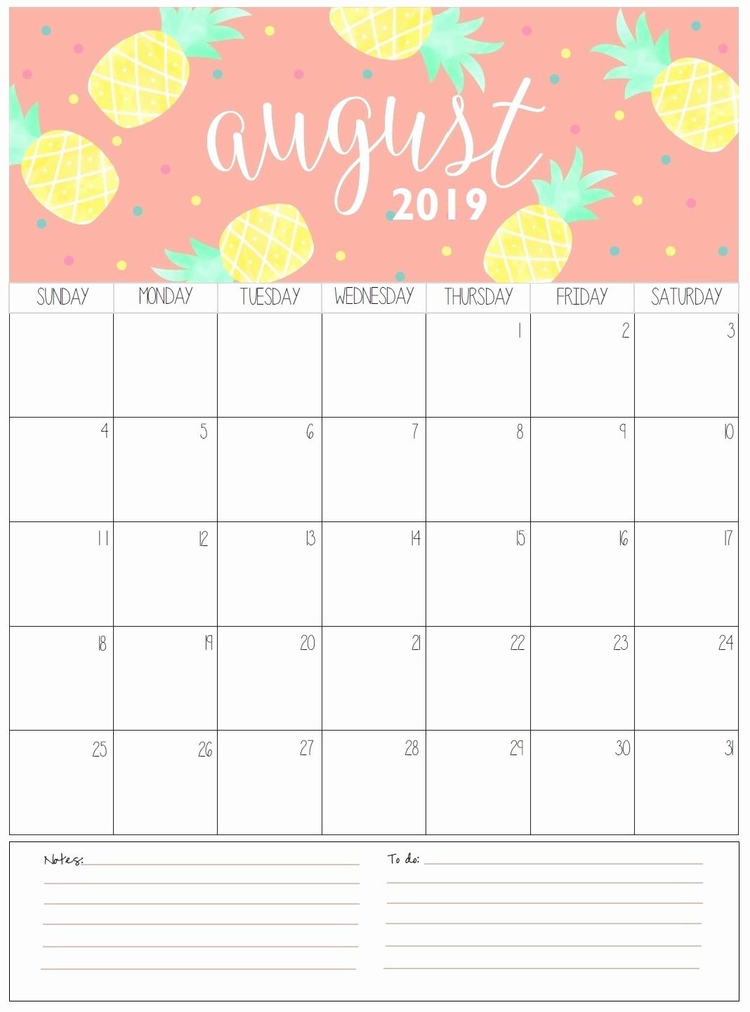 Blank Calendar August 2019 – Template Calendar Design