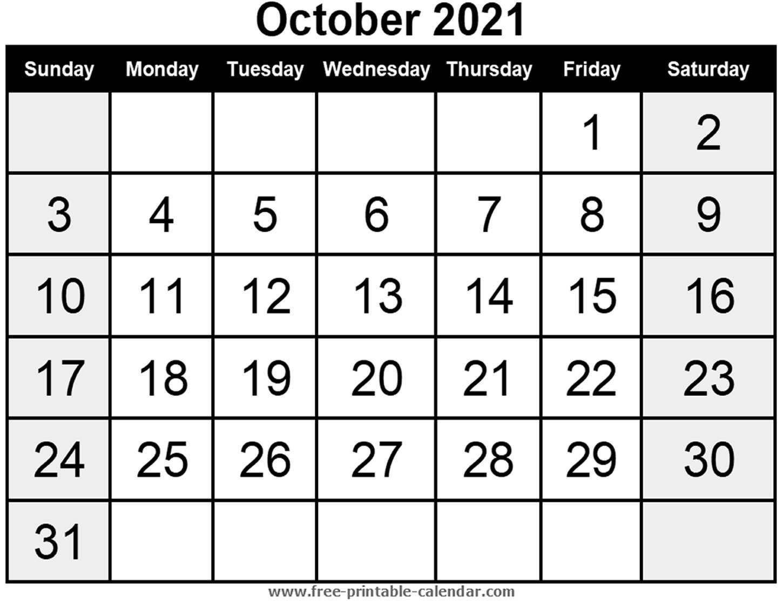 Blank Calendar October 2021 - Free-Printable-Calendar