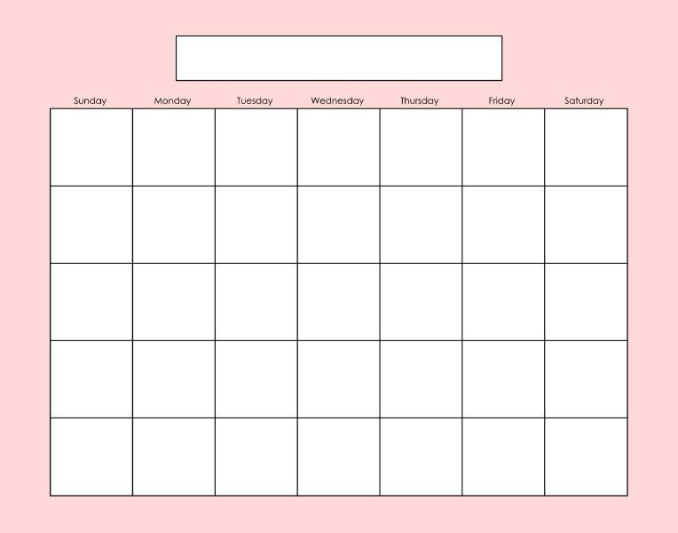 Blank Calendar Page. Fill As Needed. | Blank Calendar