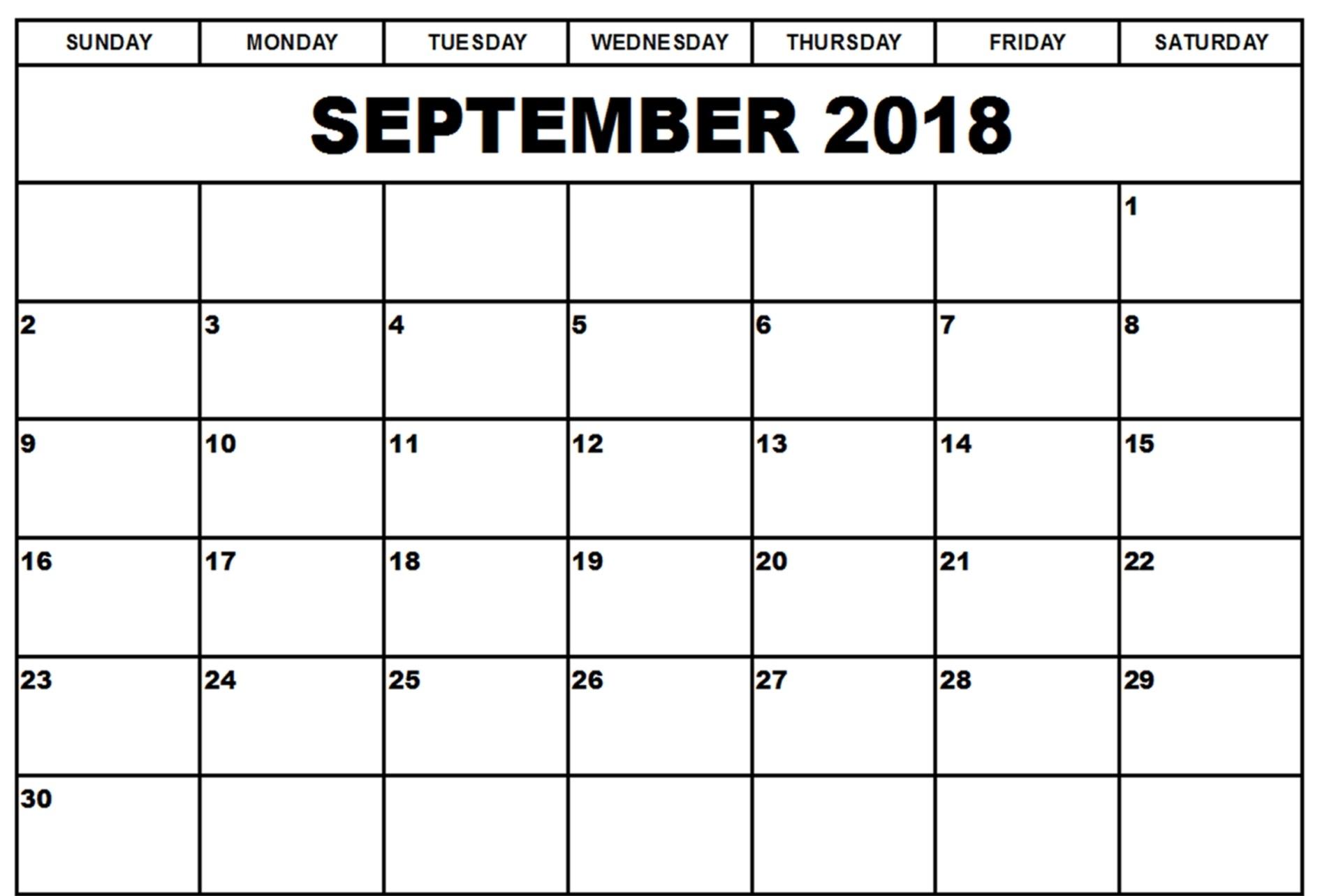 Blank Calendar September 2018 Printable – Template