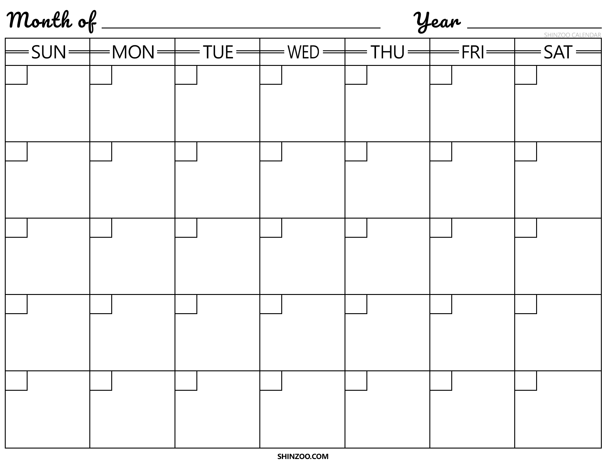 Blank Calendar Template 2019 2020 Printable