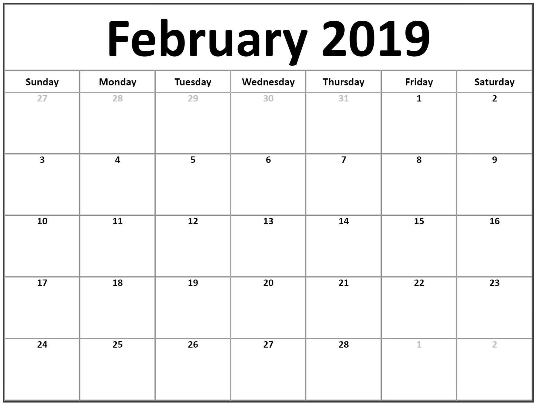 Blank Calendar To Fill In Free | Calendar Template