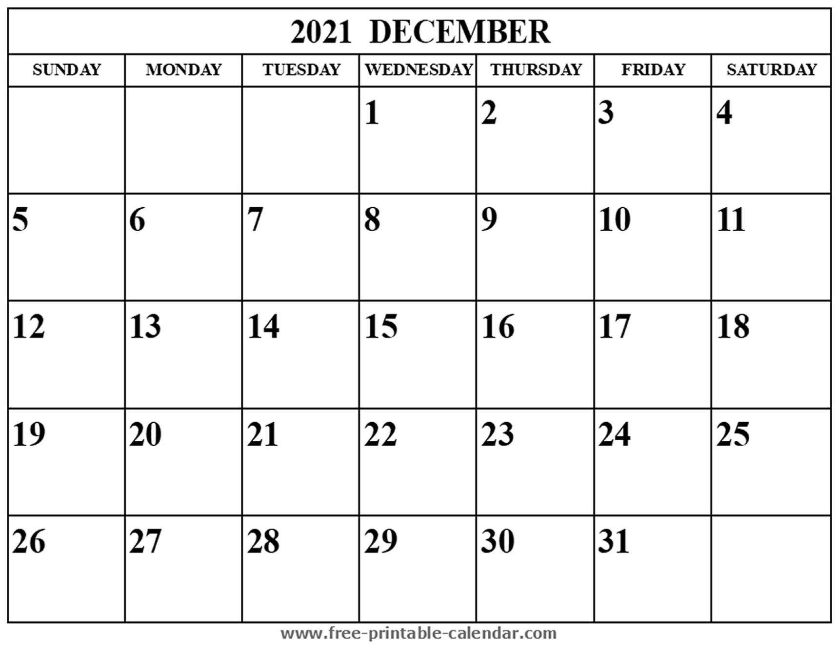 Blank December 2021 Calendar - Free-Printable-Calendar
