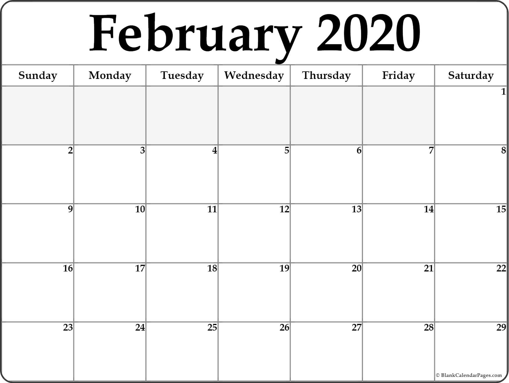 Blank Fill In Calendars 2020 Printable | Calendar Template