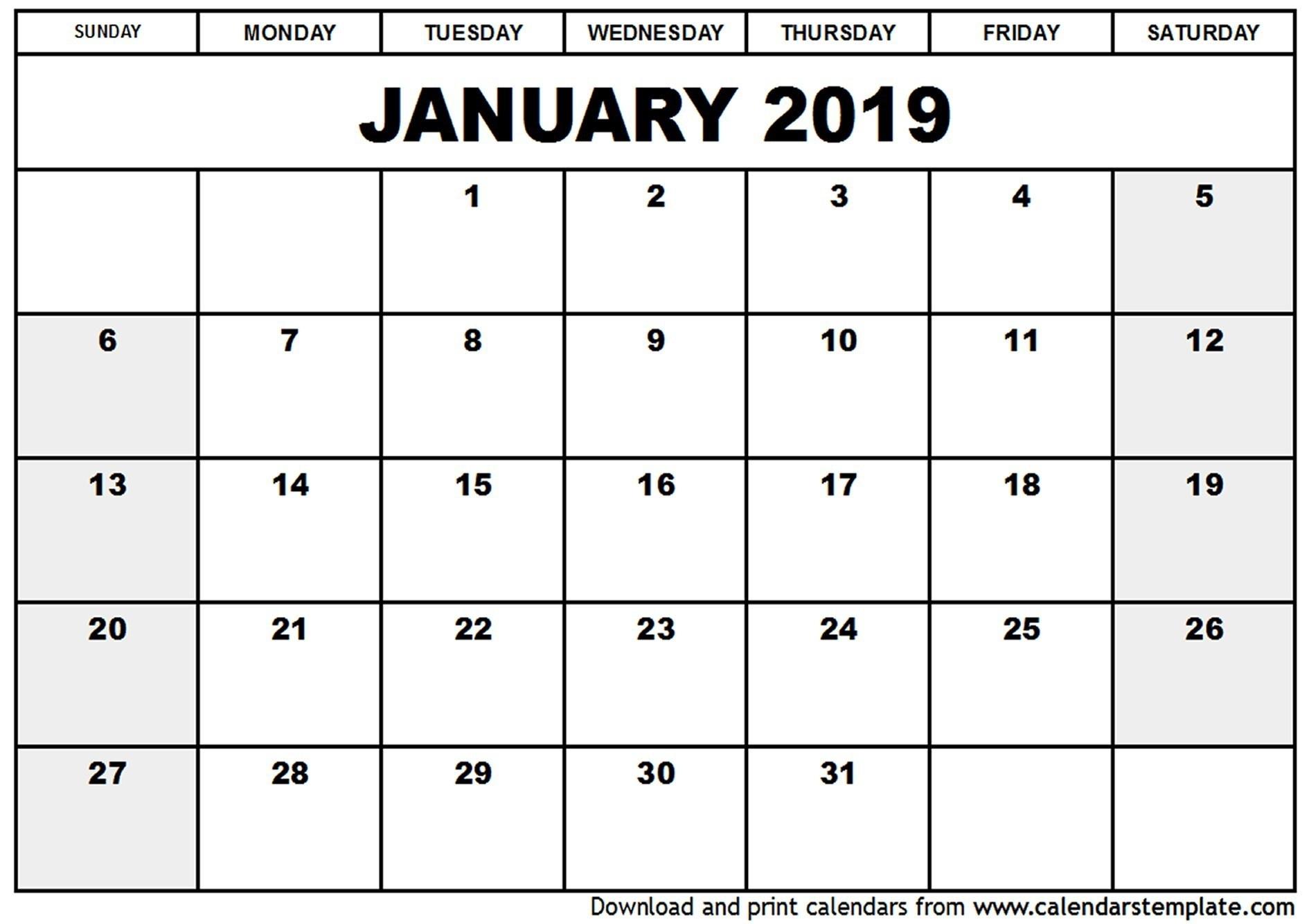 Blank Fillable Calendar 2019 – Template Calendar Design