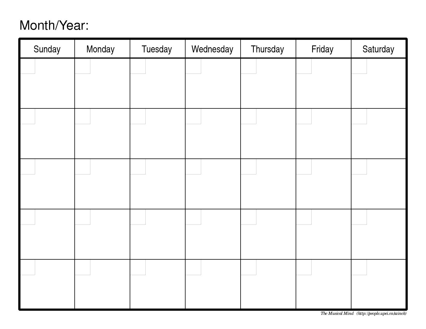 Blank Monthly Calendar Printable 2018 – Template Calendar
