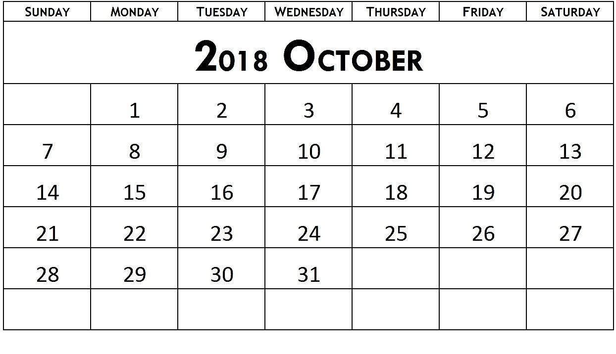 Blank October 2018 Number Calendar | Monthly Template