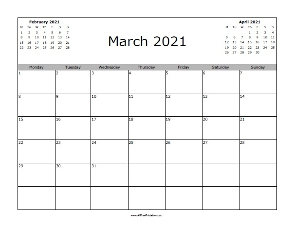 Blank Printable March 2021 Calendar | Calvert Giving