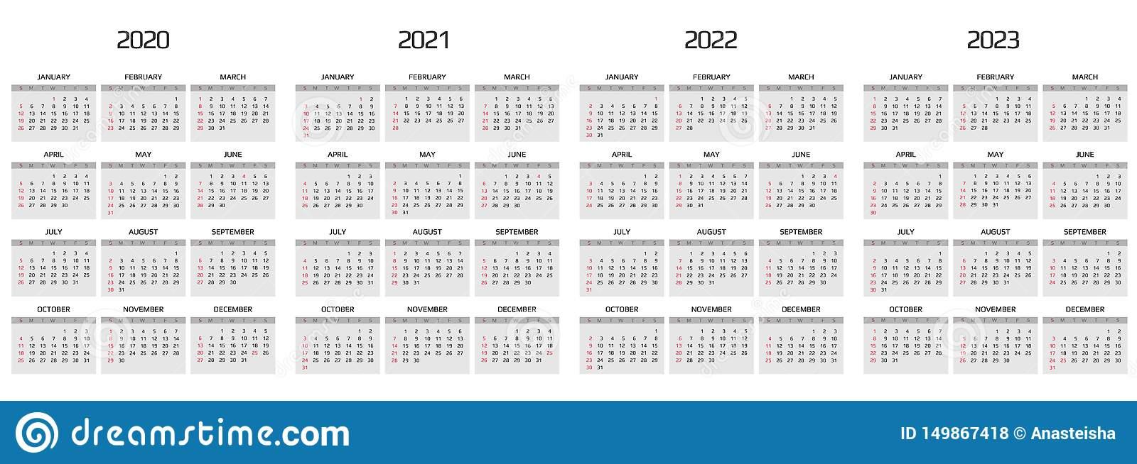 Calendar 2020, 2021, 2022, 2023 Template. 12 Months