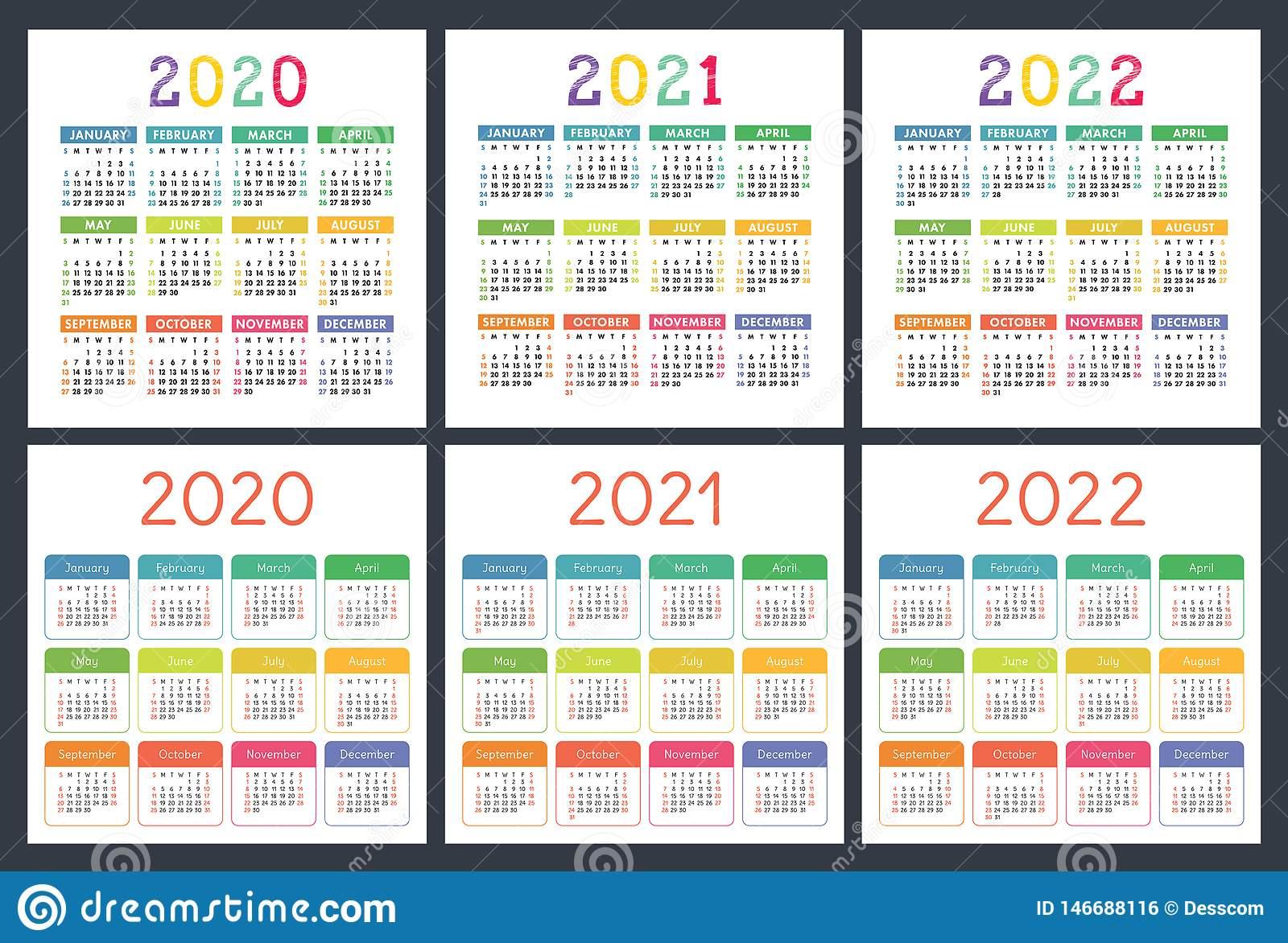 Calendar 2020, 2021, 2022 Years. Pocket Calender Big