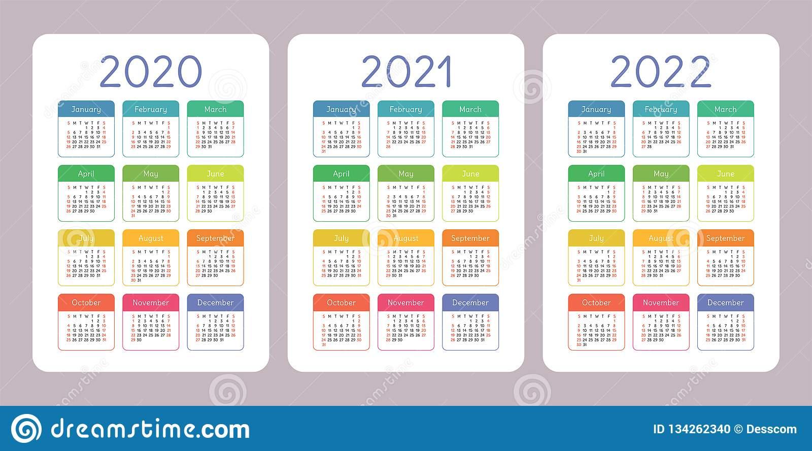 Calendar 2020, 2021, 2022 Years. Vertical Vector Calender