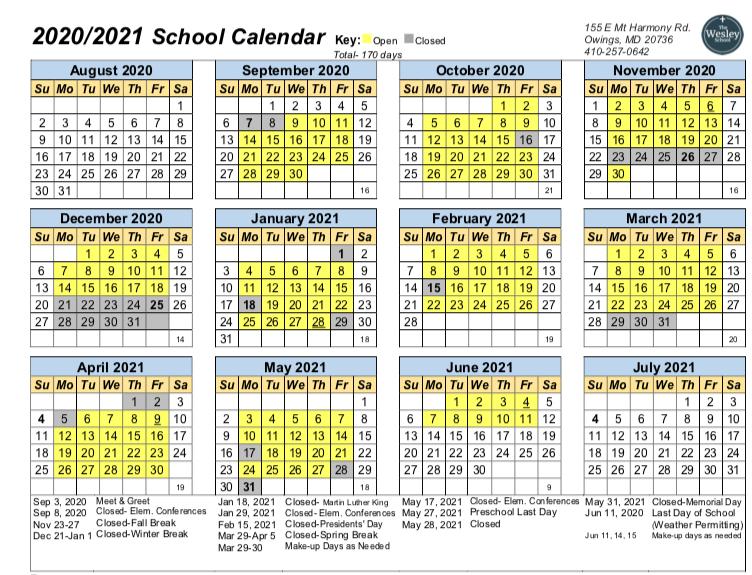 Calendar 2020-21 | The Wesley School