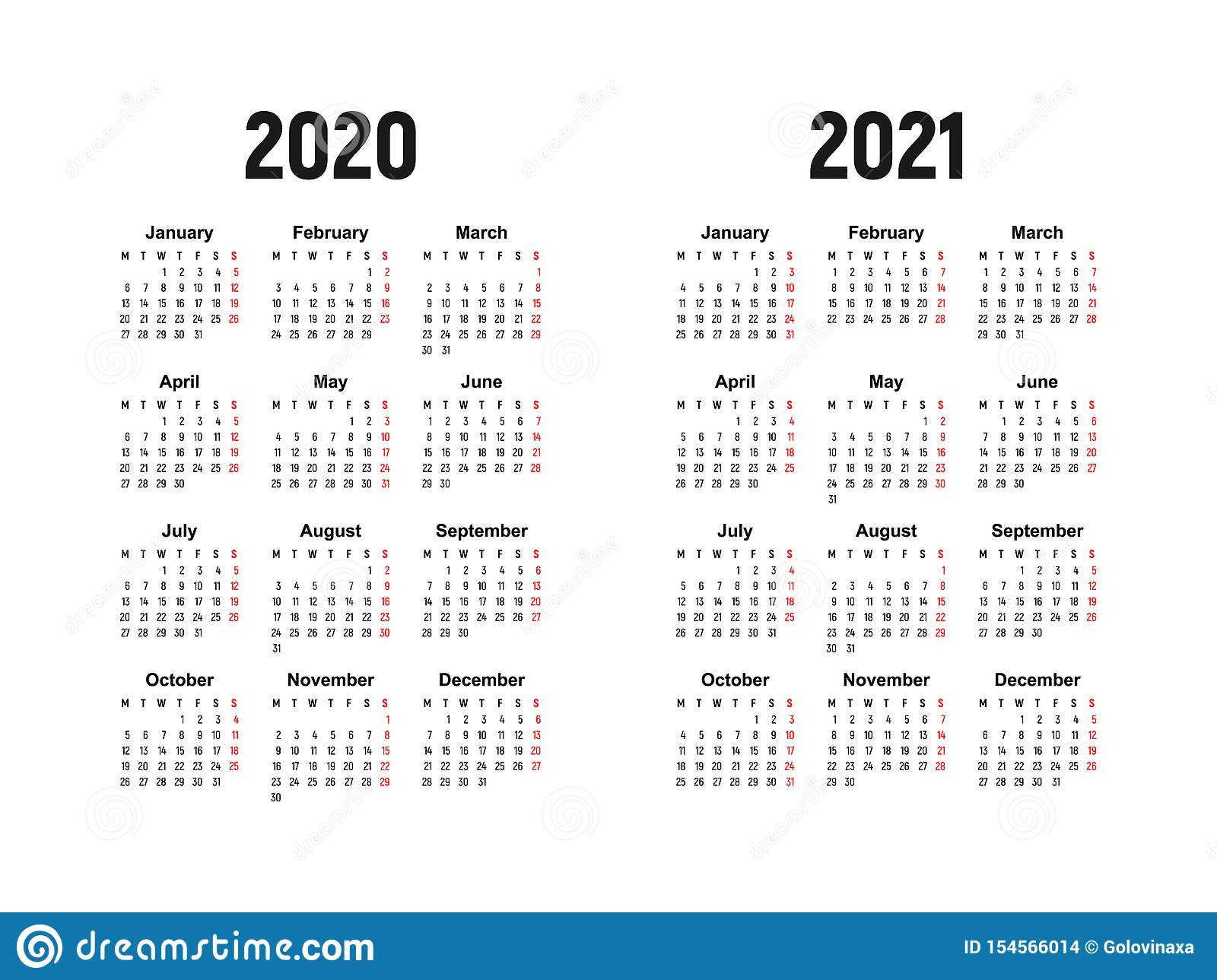 Calendar 2020 And 2021, Week Starts On Monday Stock Vector