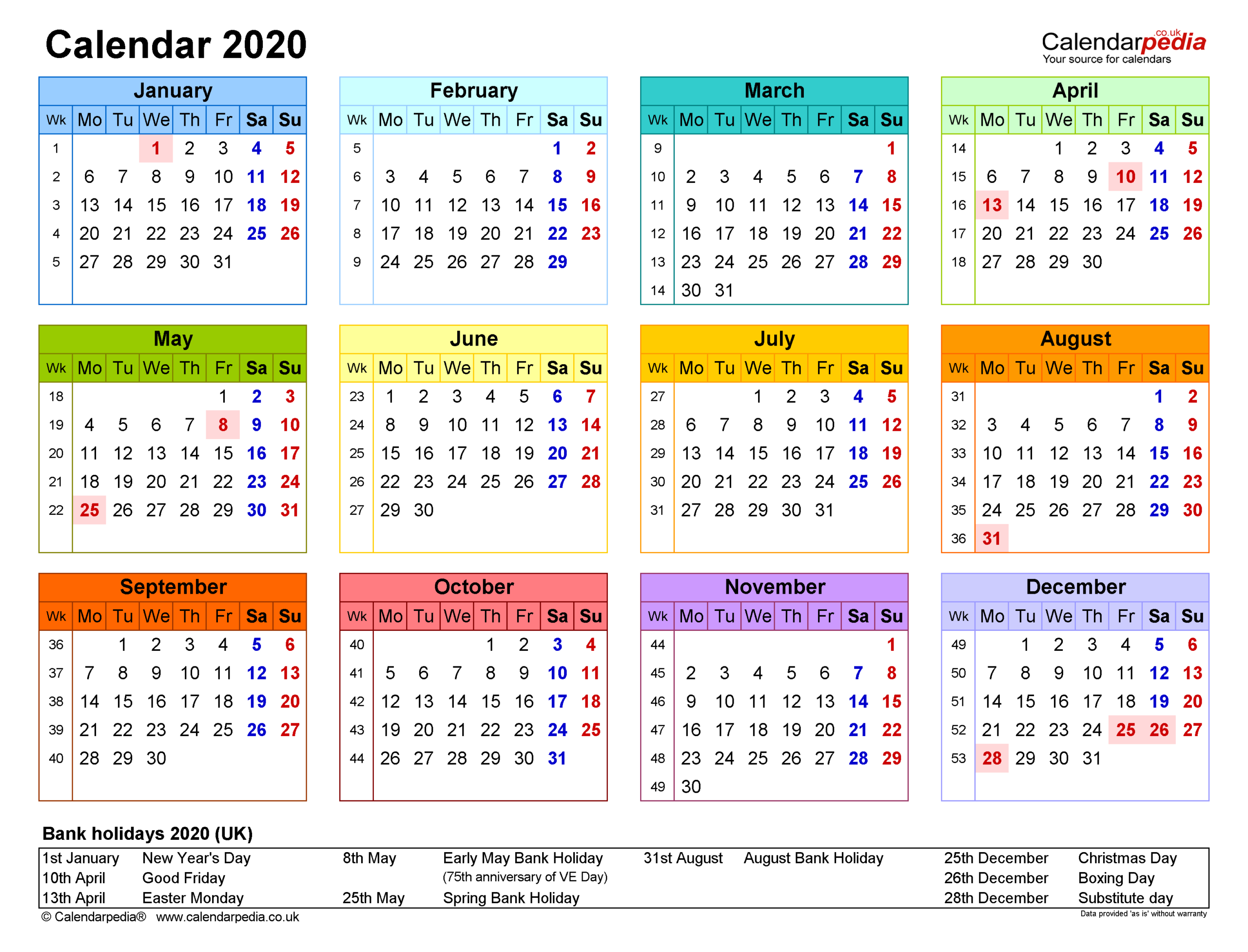 Calendar 2020 (Uk) - Free Printable Pdf Templates