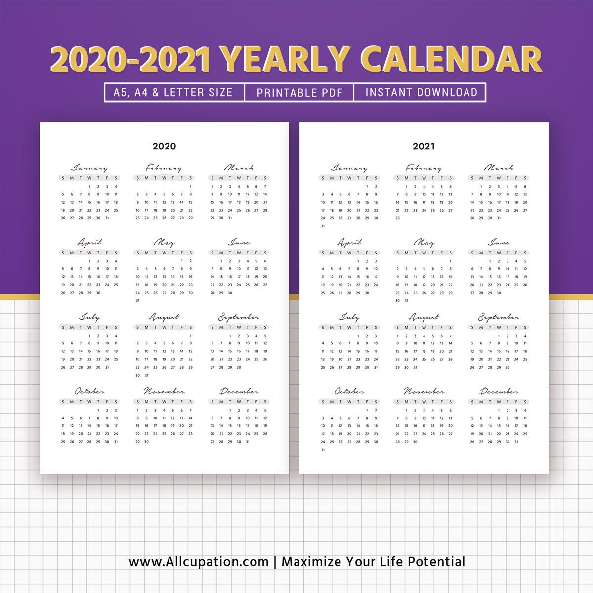 Calendar 2020 Year At A Glance | Calendar Printables Free