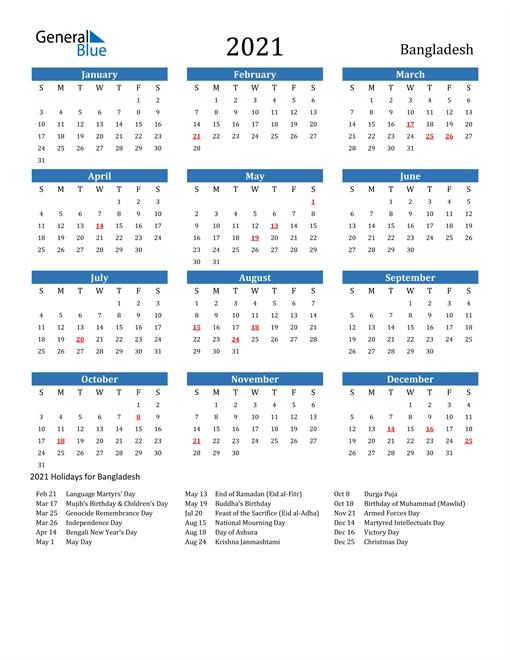 Calendar 2021 Bangladesh | Qualads