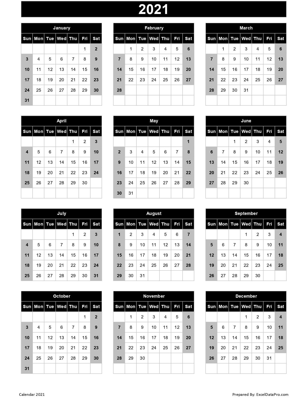 Calendar 2021 Excel Templates, Printable Pdfs & Images
