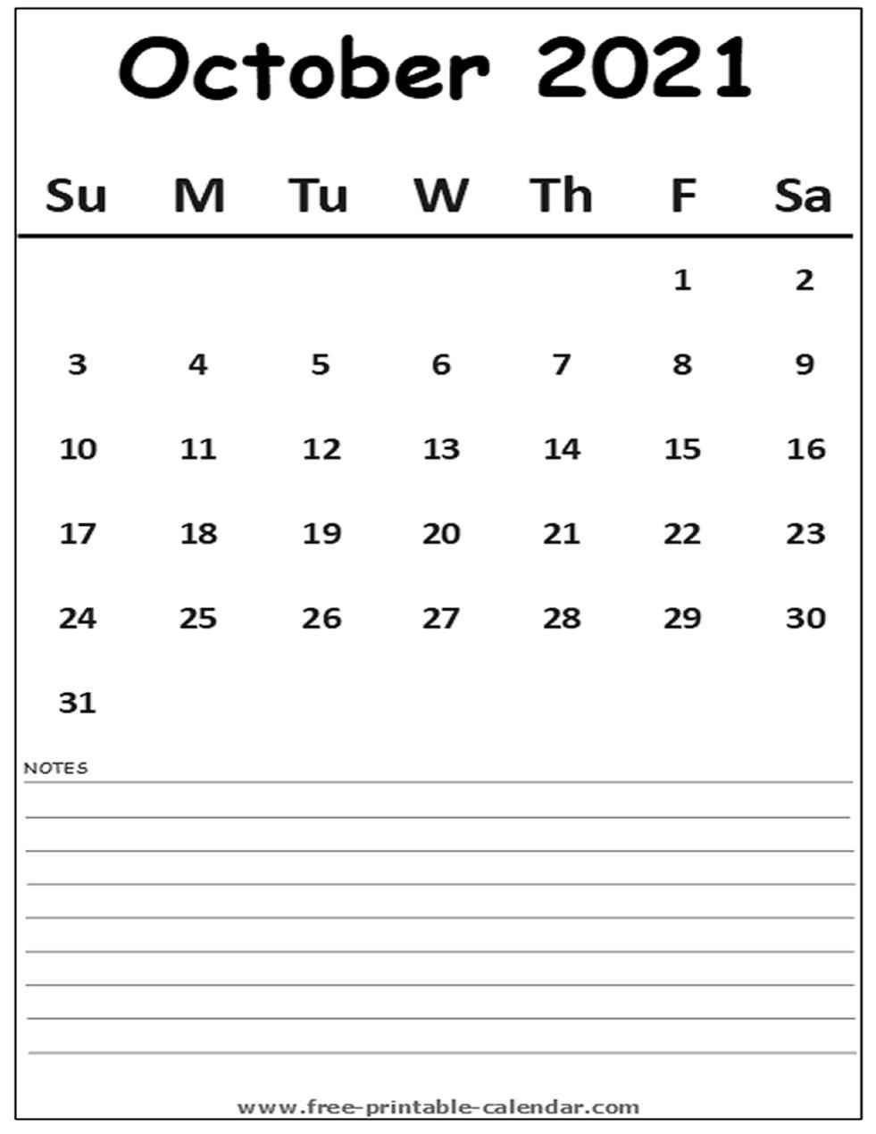 Calendar 2021 October - Free-Printable-Calendar