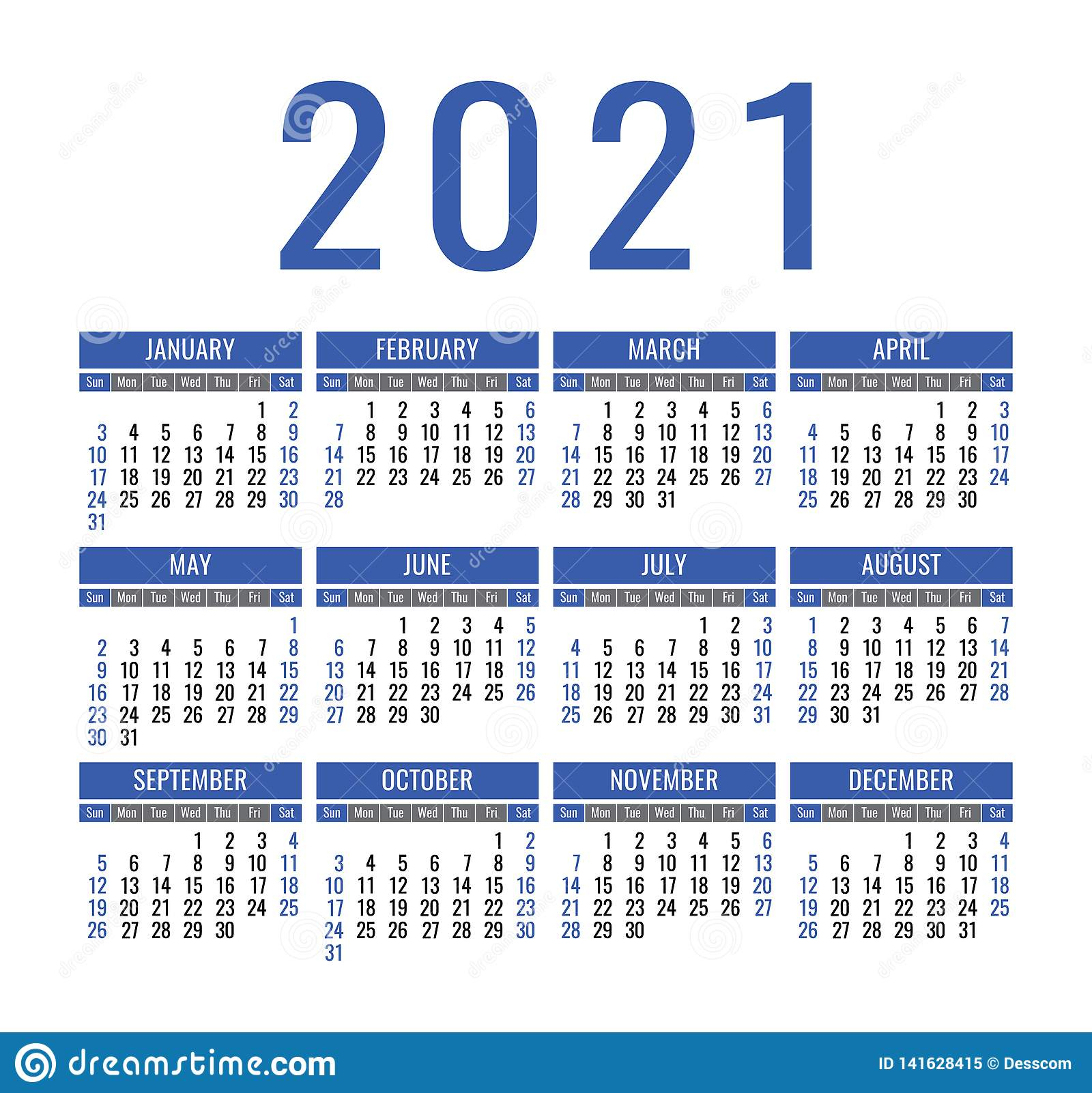 Calendar 2021 Year. Vector Pocket Or Wall Calender