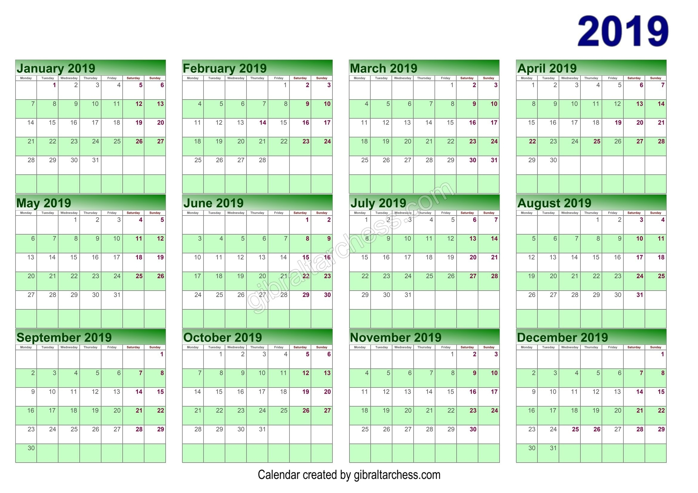 Calendar 4 4 5 Template | Free Calendar Template Example