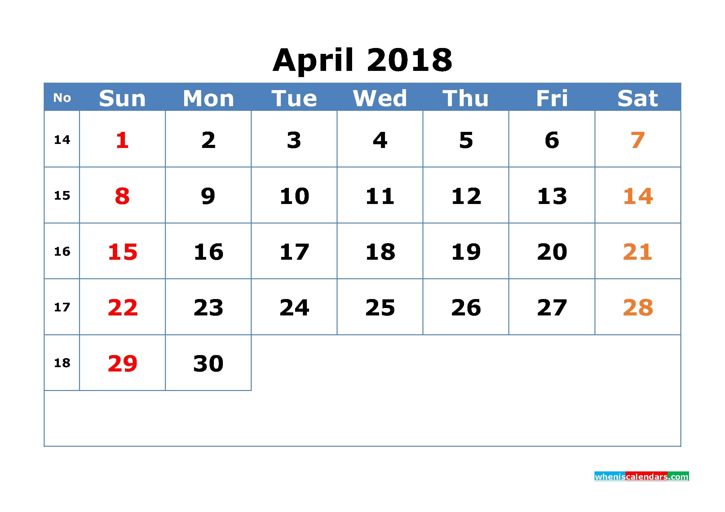 Calendar By Week Numbers 2018 – Template Calendar Design