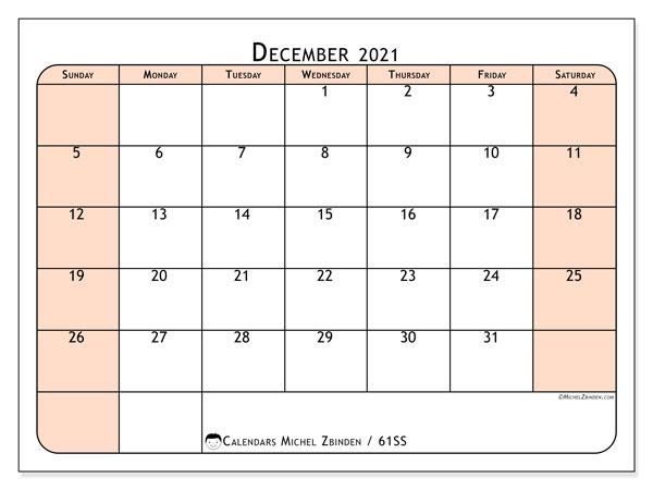 Calendar December 2021 - 61Ss - Michel Zbinden En