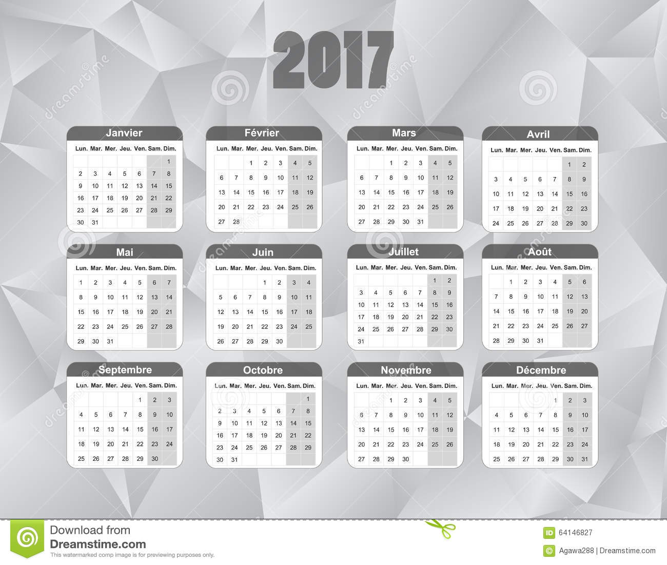 Calendar For 2017 In French Language, Sunday To Saturday