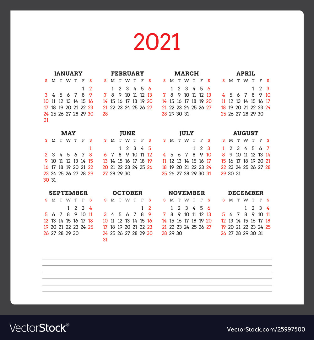 Calendar For 2021 Year Week Starts On Sunday Vector Image