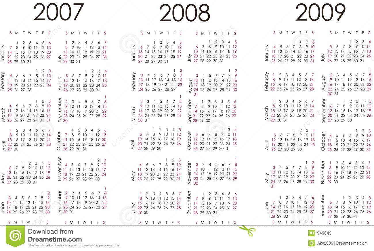 Calendar For Next Three Years Stock Photos - Image: 943043