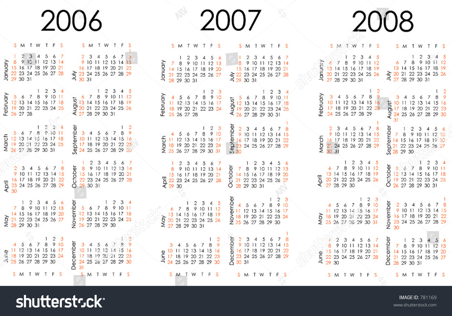 Calendar Next Three Years All Numbers Stock Vector 781169