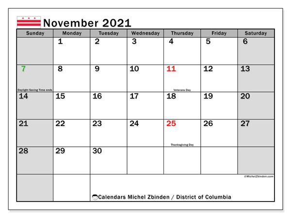 Calendar November 2021 - District Of Columbia - Michel