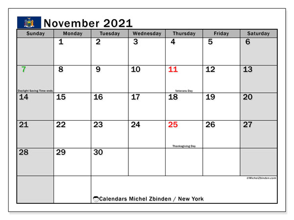 Calendar November 2021 - New York - Michel Zbinden En