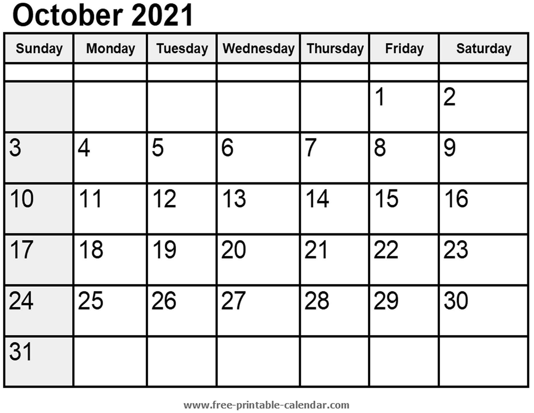 Calendar October 2021 - Free-Printable-Calendar